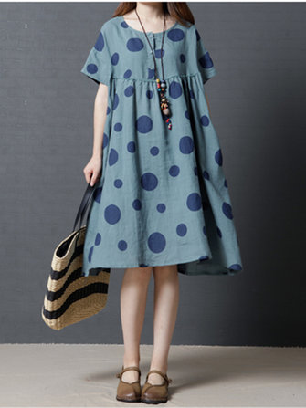 Women Polka Dot Short Sleeve Dress