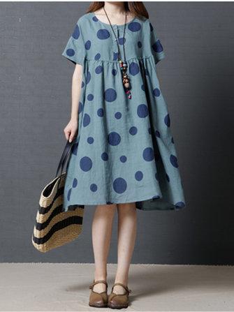 Women Short Sleeve Polka Dot Pocket Vintage Dresses