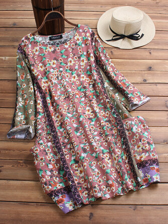 Vintage Women Random Floral Print Crew Neck 3/4 Sleeve Dress