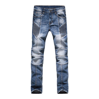 European Mens Fashion Plus Size Motorcycle Pleat Elastic Slim Jeans