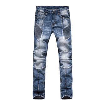 Europeo mens modo più il moto formato piega elastiche jeans slim