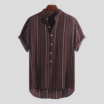 f206de9e189 Mens Summer Striped Buttons Fly Henley Shirts