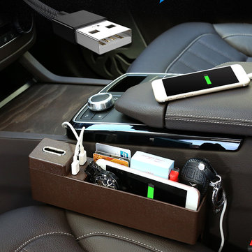 Plastic Car Seat Crevice Storage Box Gap Organizer with Phone USB Wireless Charging