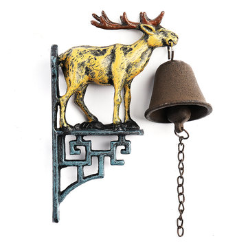 Cast Iron Stag Deer Antique Door Bell Bracket Wall Mounted Doorbell Garden Home Decor