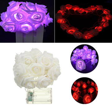 Battery Powered 20LEDs Red Purple Rose Flower Indoor Fairy String Light for Christmas Wedding Patio