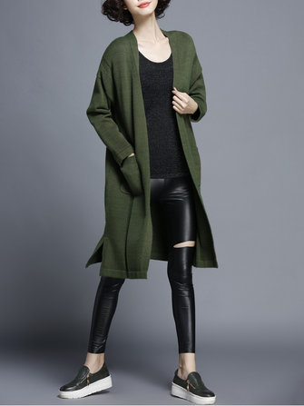 Casual Women Split Knitted Sweater Cardigan Long Jacket