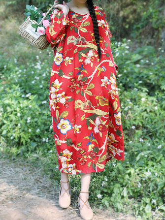 Vintage Floral Print Cotton & Linen Long Sleeve Split Dress