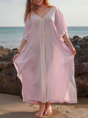 Plus Size Bohemian V-neck Batwing Sleeve Women Maxi Dress