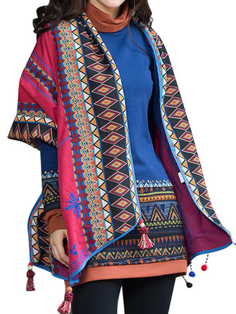 Ethnic Stripe Printing Irregular Tassel Hem Cape Women Cardigan