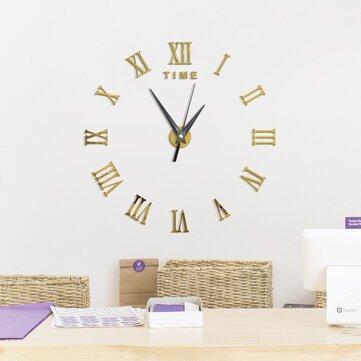 Large3DDIYนาฬิกาติดผนังนาฬิกาตัวเลขโรมันนาฬิกาFramelessMirror สติ๊กเกอร์ติดผนังตกแต่งบ้านสำห