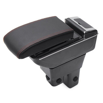 Black ABS Car Armrest Console Storage Box Organizer for Honda Fit Jazz 2009-2013