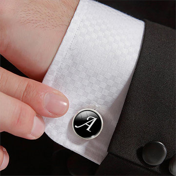 Men Gemstone Glass Single Letter Cufflinks Wedding Party Vintage Alphabet Cufflink