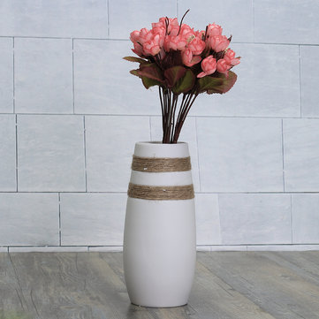 White Creative Modern Ceramic Flower Vase Handmade Flowers Bouquet