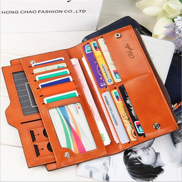 Women Oil Leather Ultrathin Wallet Muti Card Slots Multifunctional Purse Long Wallet