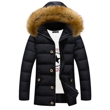 Winter Down Cotton Padded Coat Men Mid Long Casual Thick Hooded Fur Collar