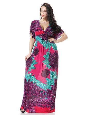 Bohème sexy imprimé v-cou manches courtes plage maxi robe pour les femmes