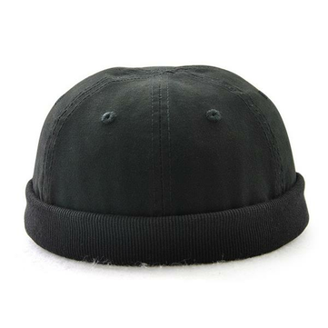 Men Plus Size Hats Retro Solid Brimless Hat Adjustable Warm Skullcap Sailor Cap
