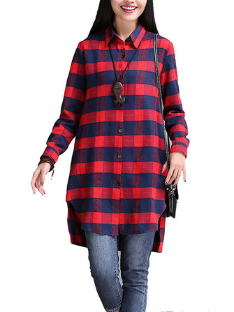 Loose Casual Women Lapel Button Plaid Check Irregular Split Blouse