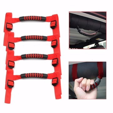 4pcs Red Roll Bar Car Grab Handle Kit Off Road Car Top Handle For Jeep Wrangler
