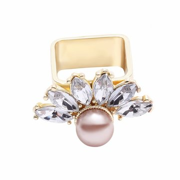 Trendy Balancing Style Alloy Square Rhinestone Artificial Pearl Flower Ring Bijoux pour femmes