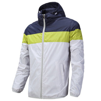 Mens Plus Size Casual Stitching Color Hooded Windbreaker Skin Coat Breathable Sports Jacket