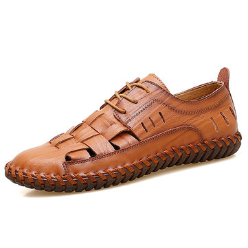 Men Breathable Round Toe Hollow Out Soft Sole Oxford