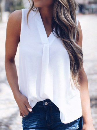Casual Women Sleeveless V-Neck Chiffon Shirts