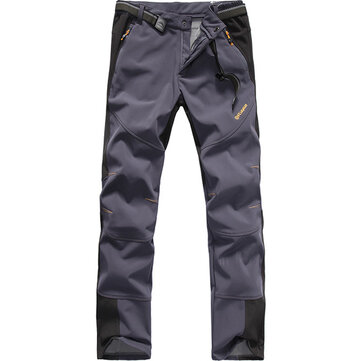 Mens Thick Fleece Outdoor Sport Pants Waterproof Windproof Casual Climbing Pants