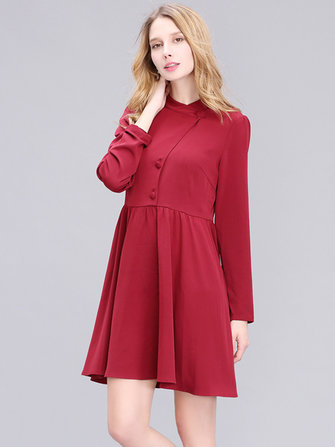 Women Elegant Chiffon Long Sleeve Pure Color Slim Dress