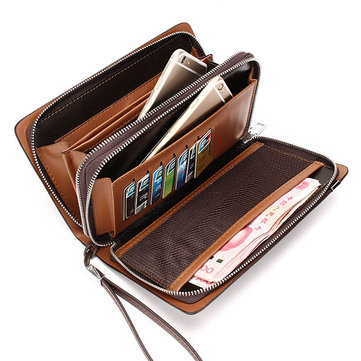 Men Business Man-made Leather Portable Bag Double Zipper Wallet