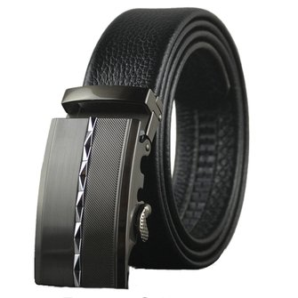 Mens First Layer Cowhide Leather Diamond Business Belt Fashion Automatic Buckle Strap