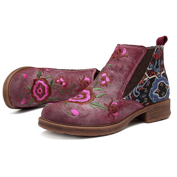 SOCOFY Embroidery Flower Splicing Leather Ankle Boots