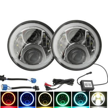 Pair 7inch H4 H13 Round RGB LED Headlights Halo DRL Hi/Lo Beam For Harley/Jeep JK 07-16