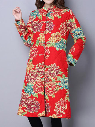 Ethnic Floral Printing Thick Cotton Padded Women Long Coat