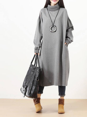Casual Women Off Shoulder Turtleneck Long Sleeve Loose Sweatshirt Dress