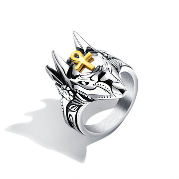 Punk Finger Ring Titanium Steel Cross Anubis Head Portrait Finger Rings Accessories Jewelry for Men