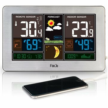 Digital Alarm Clock Weather Station Wall Indoor Outdoor Temperature Humidity Watch Moon Phase Forecast USB Charger