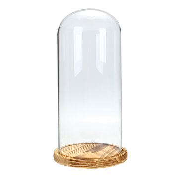 33x15cm Glass Dome Wooden Base Cloche Bell Jar Display Stand Micro Landscape Dried Flower DIY Vase