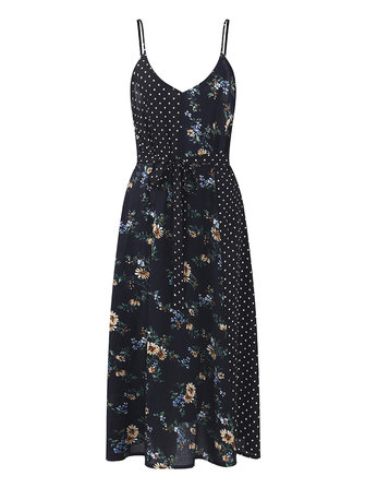 OEUVRE Sexy Women Spaghetti Strap Printed V-neck Mid Long Dress