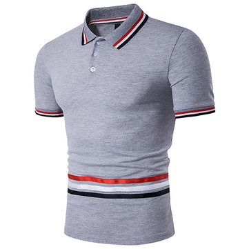 Summer Mens Striped Casual Turn-down Collar Polo Shirts Slim Fit Short Sleeve T-shirt