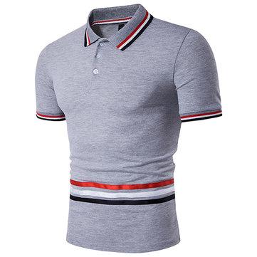 Summer Mens Striped Casual Turn-down Collar Polo Shirts Slim Fit Short Sleeve T-shirt
