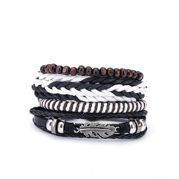 1 Set Multilayer Leaf Charm Wood Beads Leather Bracelet