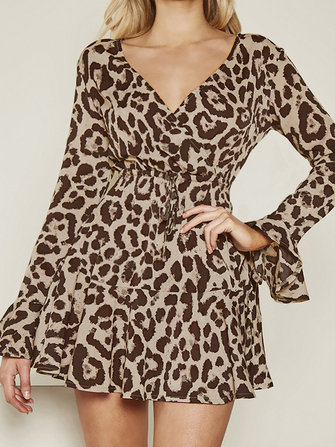 Women Vintage V-neck Long Sleeve Leopard Print Party Cocktail Mini Dress