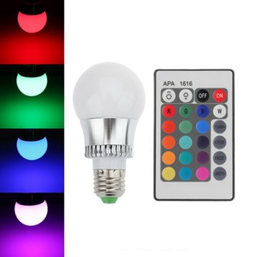 E27 10W 16 Color Change RGB LED Ball Bulbs 85-265V +IR Remote