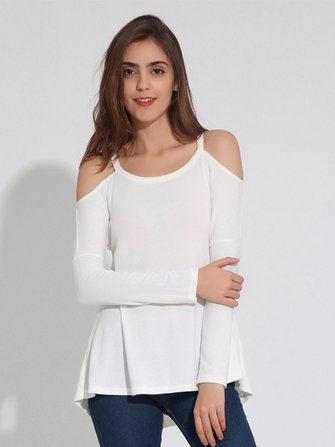 Casual Women Long Sleeve Strapless Off Shoulder O-Neck T-shirts