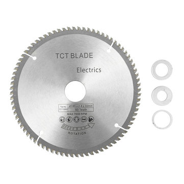 185mm 80 Teeth Circular Saw Blade with 3pcs Reduction Rings Fits for 190mm Saws