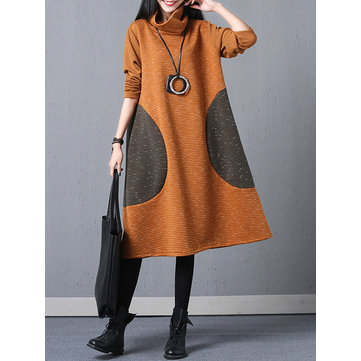 Casual Women Long Sleeve Patchwork Dress