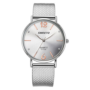 SMEETO Casual Style Women Quartz Watch Fashion Dial Stainless Steel Strap Ladies Dress Wristwatch