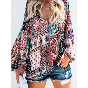 Women Long Sleeve V Neck Bohemian Floral Print Blouse