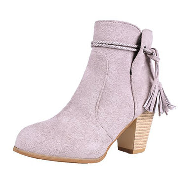 Women Ankle Boots Fringe Side Zipper Chunky Heel Shoes